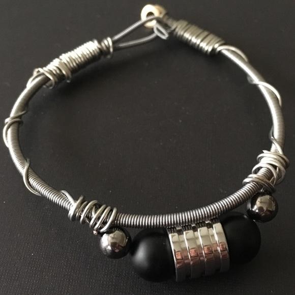 efced36127722 7 inch Guitar String Bracelet with Onyx